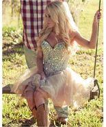 Luxury Crystal Champagne Homecoming Dress Short Strapless Mini Girls Par... - $123.00