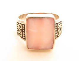 Beautiful Sterling Silver Pink Mother Of Pearl Rectangular Stone Ring*Sz... - $44.55