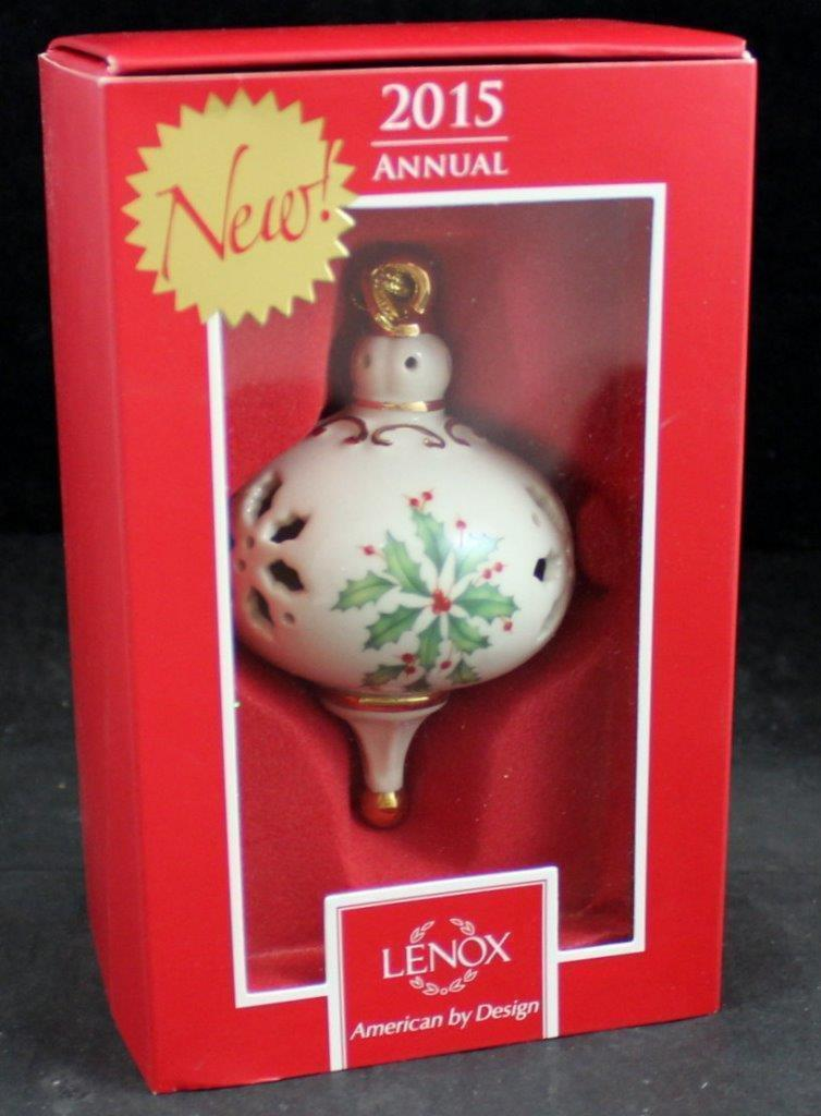 Lenox 2015 Holiday Pierced Ornament Annual Holly Christmas 1st Quality NEW