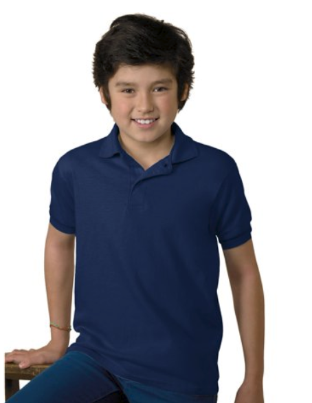 Hanes ComfortBlend Size Large (L) Youth Jersey Polo Lightweight Deep Navy