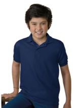 Hanes ComfortBlend Size Large (L) Youth Jersey Polo Lightweight Deep Navy - $7.63