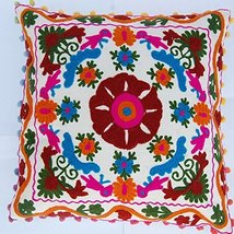 White Color Vintage Throw Pillow Case Indian Handmade Suzani Cushion Cov... - $17.49