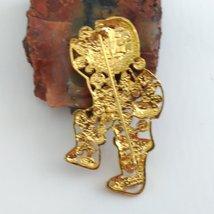 Santa Brooch Gold Tone with Multi-Colored Rhinestones image 4