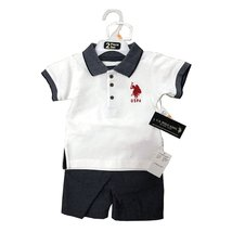 US POLO 2 PIECES BABY SET 12-24 MONTHS (18 MONTHS, WHITE POLO/NAVY) - $14.69
