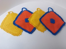 Lot of 4 Handmade Bright Colorful Orange Yellow Crocheted Hot Pads Pot H... - $9.90