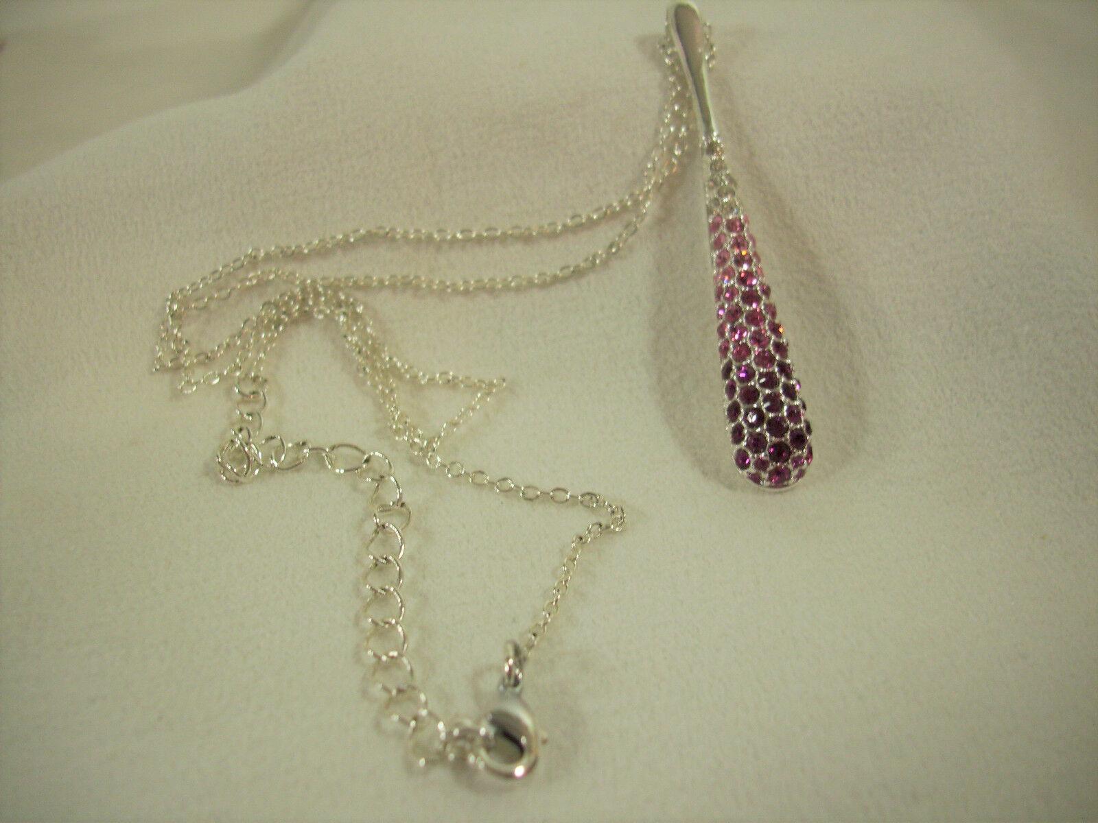 NATALIYA COLLISTER Graduated PINK Rhinestone TEARDROP Pendant Chain Necklace NVC