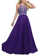 Women's Scoop Neckline Beaded Long Chiffon Prom Dresses For 2018 Evening... - $128.99