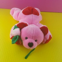 "Commonwealth Plush Pink Teddy Bear Flower Stuffed Animal Red Love Valentines 14"" - $17.81"