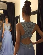 Gorgeous A-Line High Neck Lace Long Prom Dress Beading Evening Gown Form... - $135.00