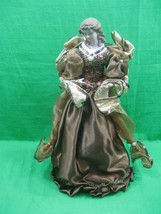 Vintage Tall Ceramic Porcelain Angel Christmas Tree Topper Brown & Gold ... - $13.98