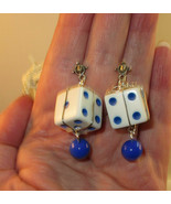 Wire Wrapped Big Dice & Bead Earrings Casino Game Night Good Luck Blue bz - $9.50