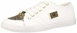 G by GUESS Matrix Women's Lace-up Glitter Sneakers Shoes (5.5, White)
