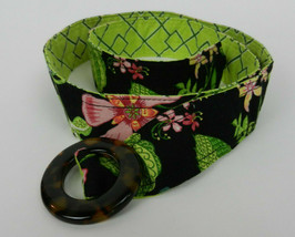 Vera Bradley Belt Black Pink Green Floral Front Shell Buckle Green Diamo... - $14.84