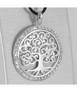 WHITE GOLD PENDANT 750 18K, TREE OF LIFE, FRAME ZIRCON, MADE IN ITALY - $135.26+