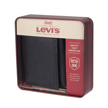 Levi's Men's Rfid Interior Zipper Coin Credit Card ID Trifold Wallet Black image 1
