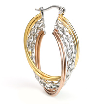 Twisted Tri-Color Silver, Gold & Rose Tone Hoop Earrings- United Elegance image 2