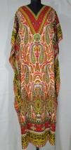 Beautiful Long Paisley Kaftan, Bohemian Beach Gown, Free Size Hippie Dress - $10.55