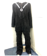 Men's New Native American Buckskin Black Suede Leather Fringes Shirt & P... - $179.10+
