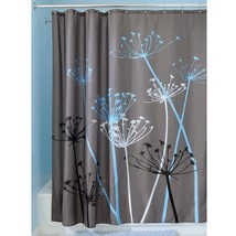 "InterDesign Bathroom Shower Curtain Thistle Gray/Blue Modern Decor 72"" 37221! - $15.63"