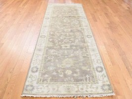 """3'1""""x9'5"""" Washed Out Oushak Runner HandKnotted Pure Wool RugR39397 - $343.53"""