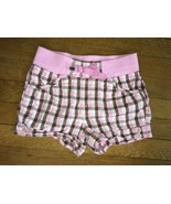 * basic editions brown pink plaid active play shorts bottoms size  medium  7 - 8 - $4.95