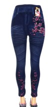Women Fashion Stretchy Denim Look Jeans Skinny Leggings Flowers Printed - $7.73