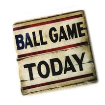 Ball Game Today Vintage Design Tumbled Tile Beverage Coasters - Set of Four - $20.74+