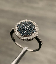 9k Diamond Ring Blue Diamonds White Gold Size R - $441.09