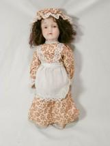 "Vintage Albert E. Price Porcelain Doll 12""  Prairie Pioneer Girl With Apron - $14.70"