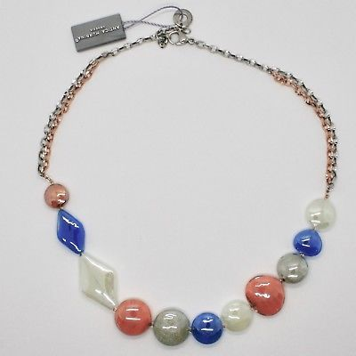 COLLIER ANTIQUE MURRINA VENEZIA VERRE DE MURANO GRIS ORANGE BLEU COA86A46