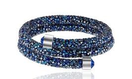 Crystal  Double Wrap Bracelet Made with Swarovski Elements Blue - $12.34