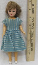 Plastic Doll w/ Sleepy Blue Eyes Brown Hair Vintage Antique Blue Dress 1... - $12.86