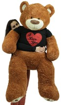 5 Foot Very Big Smiling Teddy Bear Wearing Black and Red I Love You T-sh... - $132.10