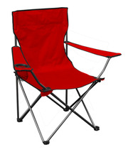 Portable Standard Folding Quad Chair - Red Fabric/Silver Frame - $31.45