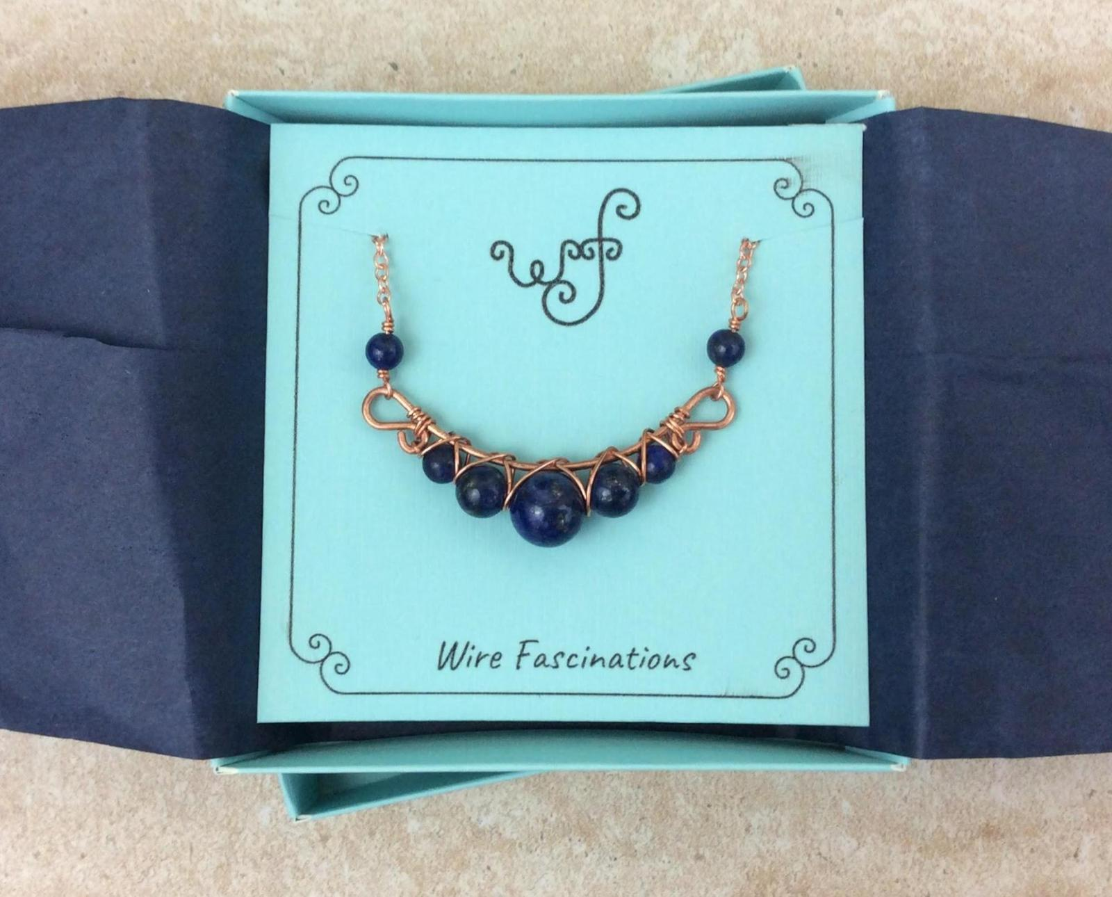 Handmade lapis lazuli necklace: criss cross copper wire wrapped image 10