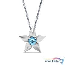 Flower Shape Solitaire Pendant W/ Chain White GP 925 Silver Round Cut Aq... - £30.15 GBP