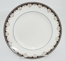"Wedgwood Medici R4588 Salad Plate Tan Shells Black Band 8.5"" Small Scratch - $13.85"