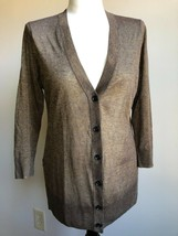 Loft M Bronze Brown Gold Shimmer Deep V-Neck Thin Knit Cardigan Sweater - $26.60