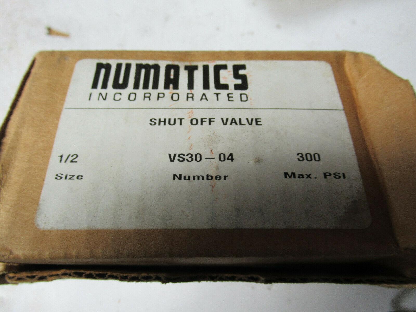 """Numatics VS30-04 Shut Off Valve 1/2"""" 300 PSI Max NEW"""