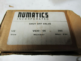 "Numatics VS30-04 Shut Off Valve 1/2"" 300 PSI Max NEW image 1"