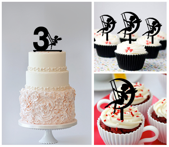3rd Birthday Cake TopperCupcake Toppersilhouette Fairy On The Moon 11 Pcs