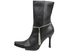 Women Western Boot Bracelet Silver Metal Chain Shoe Long Tassel Fringes Charm - $17.63