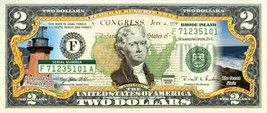RHODE ISLAND State/Park COLORIZED Legal Tender U.S. $2 Bill w/Security F... - $14.80