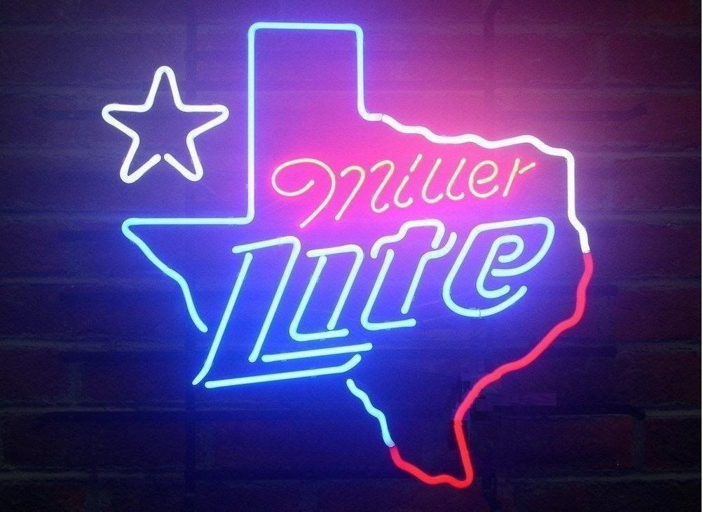 """Rare New Miller Lite Texas Lone Star Beer Lager Neon Sign 24""""x20"""""""