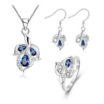 S127 Leaf Pattern Plated Necklace Drop Earrings Ring Fashion Jewelry Set... - $12.20