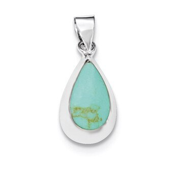 Primary image for Lex & Lu Sterling Silver Polished Synthetic Turquoise Teardrop Pendant
