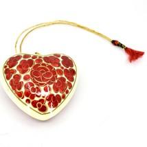 Asha Handicrafts Painted Papier-Mâché Red & Gold Heart Floral Christmas Ornament image 2