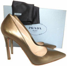 Prada Taupe Patent Leather Classic Pointy Toe Pumps Shoes 37.5 Heels - $299.00