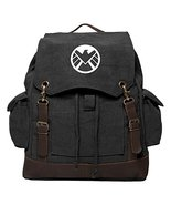 Agents of Shield Logo Canvas Rucksack Backpack With Leather Straps, Blac... - $79.60
