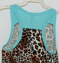 Pomelo Girls Tunic Aqua Brown White Black Leopard Print Size Medium image 4